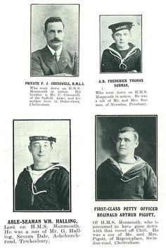 Men who went down on HMS Monmouth in action. November 1, 1914. https://gloucestershirearchives.files.wordpress.com/2014/10/coronel_casualties2.jpg