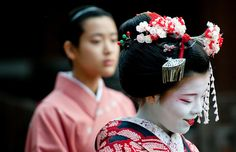Kyoto Setsubun festival. Before the dance. These Maikos' names are Maiko Fukukimi and Maiko Fukusato