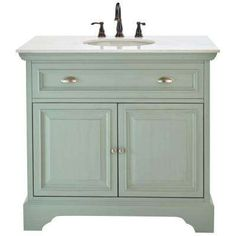 Sadie 38 in. Vanity in Antique Light Cyan with Natural Marble Vanity Top in White with White Basin