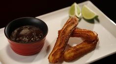 Ali and Samuel's Churros with Chocolate and Avocado Dipping Sauce from season 4 of My Kitchen Rules: http://gustotv.com/recipes/snacks/churros-chocolate-avocado-dipping-sauce/