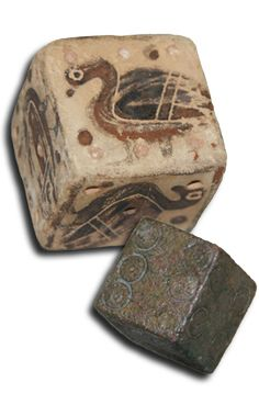 The dice Material: Clay (ΒΣ 95), Bronze (X 7515) Provenance: Sounio (ΒΣ 95), Unknown (X 7515) Date: 580-570 BC