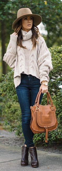 #winter #fashion / turtleneck knit + denim