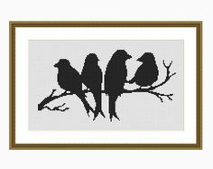 BIRD SILHOUETTE, Modern Cross Stitch Pattern, Downloadable Cross Stitch Chart PDF