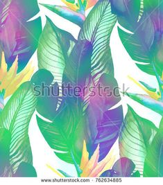 Tropical seamless pattern with  banana leaves, flower Sterlitzia. Tropical background with banana leaves. Watercolor illustration with a rainforest