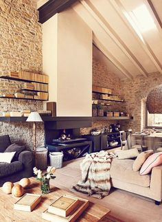 This as a loft would be heaven! Interior Design interior design bedrooms design de casas design and decoration Interior Design Inspiration, Home Interior Design, Interior Architecture, Interior Decorating, Design Ideas, Interior Ideas, Stone Interior, Country Interior, Interior Modern