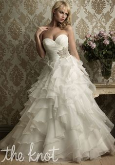 Wedding gown featuring ruffles, ruching and beading // 8862 from Allure Bridals