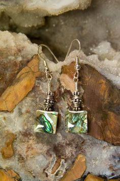 Abalone Dangle Earrings with only Sterling Silver by BaconsKeepers