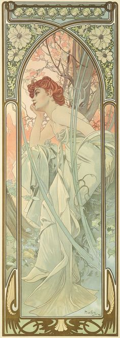 'Reverie du Soir' (Evening Contemplation) from the Times of Day series. (1889) - Alphonse Mucha (1860-1939)