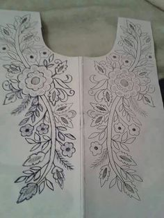 Hand embroidery designs for kurtis neck Hand Embroidery Designs, Ribbon Embroidery, Embroidery Stitches, Embroidery Patterns, Machine Embroidery, Mexican Embroidery, Neckline Designs, Collar Pattern, Irish Crochet