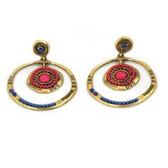 Indian-Bollywood-Gold-Blau-Pink-Ohrhaenger-Modeschmuck-Glamondo