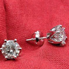Solitaire Diamond Earrings, 2 Carat Studs, Stud #diamondearrings #14kwhitegold