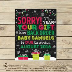 Christmas Pregnancy Reveal Announcement Printable  by stockberrystudio