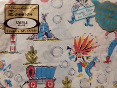Vintage Dennison Cowboys and Native American Indians Dead Stock Wrapping Paper Teepee Totem Pole Covered Wagon Cactus by OffbeatAvenue on Etsy