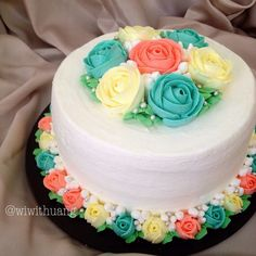 Ideas birthday cake mujer flores for 2019 Cake Decorating Techniques, Cake Decorating Tips, Cake Icing, Buttercream Cake, Frosting, Mini Cakes, Cupcake Cakes, Baby Cakes, Thanksgiving Cakes