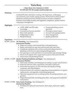 plumbers resume