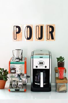 Decorate your home with these vintage style copper letters, from A Beautiful Mess. Coffee Love, Coffee Shop, Food Design, Design Ideas, Café Bistro, Do It Yourself Inspiration, Espresso Coffee Machine, Espresso Bar, Bois Diy