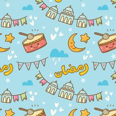 Ramadan doodle seamless pattern with \ ,