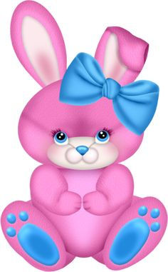 Pink Bunny with Pink Bow Clipart