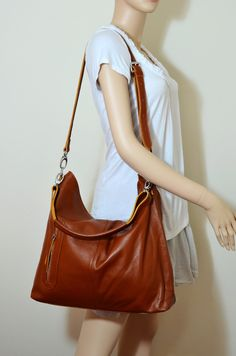 MAX LARGE BROWN---Adeleshop handmade clip on hobo laptop messenger satchel shoulder cross body bag. $165.00, via Etsy.