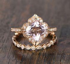 $828 Cushion Morganite Engagement Ring Sets Pave Diamond Wedding 14K Yellow Gold 8mm