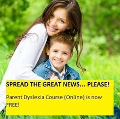 BEST NEWS EVER? Awesome! Enjoy learning exactly how to help their own child overcome dyslexia. The Parent Dyslexia Course is now completely free, and it's my gift to you and I hope you and your child enjoy amazing successes in the future. Michael from Dyslexia Improvements. #Dyslexia #Motivation #Kids #Learning #Health #Courses