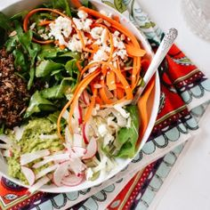 spring quinoa power bowl with herbed avocado