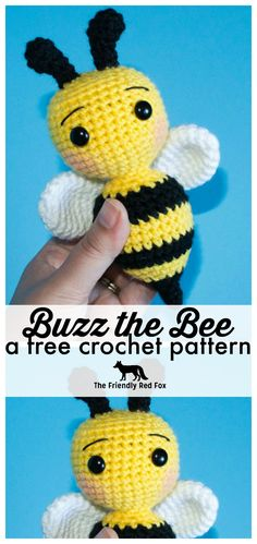 Crochet Bee Pattern 2019 This crochet bee pattern is perfect for beginners and is a fun quick project! This little crochet bee is the second installment in the Amigurumi A to Z series! The post Crochet Bee Pattern 2019 appeared first on Crochet ideas. Beau Crochet, Crochet Mignon, Crochet Bee, Crochet Hook Set, Crochet Gifts, Cute Crochet, Loom Crochet, Beginner Crochet Tutorial, Beginner Crochet Projects