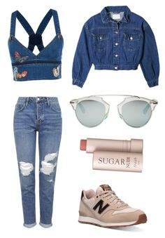 """//denim"" by beatriceorholm ❤ liked on Polyvore featuring Valentino, Topshop, New Balance, Christian Dior and Fresh"
