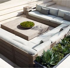 RH's Marbella Teak U-Sofa Sectional:Low-slung and linear, with clean, right angles and boxed bases, Marbella is pure modernism. Ultra-deep seats and upright backs are padded with thick cushions that beckon relaxation. Built of enduring premium teak, the collection offers a timeless aesthetic.