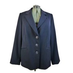 5b39b2dbea2 Lane Bryant Blazer Size 18 Navy Blue Three Button Lined Polyester Blend  Waist 44  LaneBryant