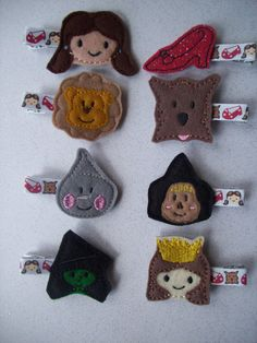 Wizard of Oz Hair Clips Embroidered Felt  Set by LittleDollysShop, $25.00