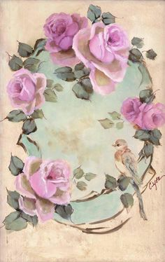 Vintage rose frame paintings by artist Jo-Anne Coletti China Painting, Tole Painting, Vintage Pictures, Vintage Images, Vintage Flowers, Vintage Floral, Rose Art, Decoupage Paper, Paper Roses