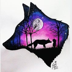 60 Trendy ideas for dark art tattoo the moon Galaxy Painting, Galaxy Art, Cute Animal Drawings, Cute Drawings, Wolf Drawings, Dark Art Tattoo, Tattoo Art, Wolf Artwork, Wolf Painting