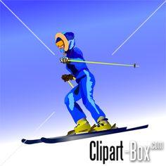 CLIPART GIRL SKIING