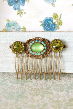 Green beauty crystal hair comb