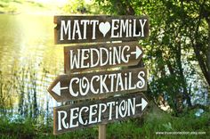 Wedding Signs & Stake Large Font Wooden Signs. Reception Signs. Parking Signs. Restrooms Sign. Cocktails sign Outdoor Wedding Decorations. $120.00, via Etsy.