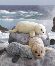Knitting pattern for Real Seal plush toy softies in two sizes, large and small. Knit with faux fur yarn. Annie's affiliate link tba sea creatures