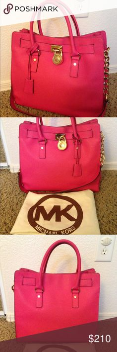 Michael Kors Large pink Hamilton In very good condition 10/10. No stains or damage. It's part of my collection and seldom use. As you can see the handles are in excellent contain. A very versatile bag and fashionable at the same time. Selling coz Trying to downsize. MICHAEL Michael Kors Bags Shoulder Bags