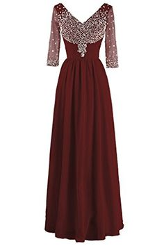 Dresstore Womens Chiffon Beaded Mother of the Bride Dress Evening Gowns Sleeves Burgundy US 14 *** To view further for this item, visit the image link.