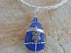 Glass Pendant with Owl Wire Wrapped by UniqueChiqueJewelry on Etsy, $15.00
