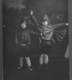 Vintage Halloween Photo ~ Jane and Mary Alice Cunningham Dressed as Bats. Circa, 1919.