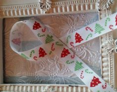 Candy Cane Christmas tree grosgrain ribbon 5 yards 7/8 inch