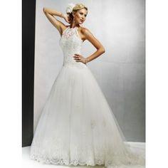 high collar...Illusion High Collar Halter Lace Overlay A-Line Tulle Petite Wedding Dress - Vintage Bridal Apparel