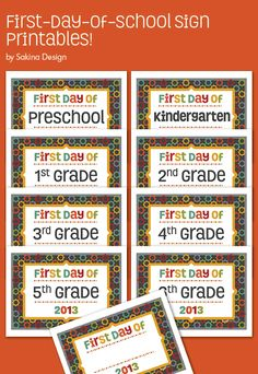 Capture the moment of your child's first day of school. These printables include first-day-of-school sign from preschool to 6th grade, plus a blank design for you to customize your own.