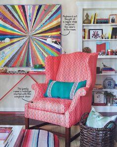 Jamie Meares design, Furbish Studio, #HGTV, wingback chair, DIY pegboard art, styled bookcase, built-in bookcase, blu dot console, pattern mix, Greek key pillow