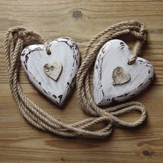 DISTRESSED SHABBY CHIC WOODEN - BIRCH HEARTS JUTE ROPE CURTAIN TIE BACK PAIR | eBay