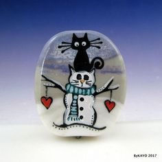 """THE SNOW CATS"" byKAYO a Handmade WINTER Lampwork Art Glass Focal Bead SRA #Lampwork"