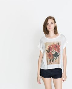 ZARA - TRF - PIXELATED FLOWERS T-SHIRT