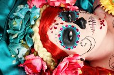 sugar skull make-up with gems