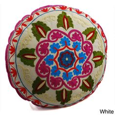 White Swirl Round Floor Pillow eclectic-floor-pillows-and-poufs